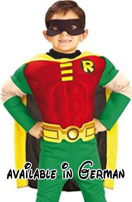 Batman Kinder Muskel Kostüm Robin Größe L 7 bis 9 J.. Material: 100 % Latex. Achtung: Nicht für Kinder unter 36 Monaten geeignet.. Lieferumfang: Dieses Batman Kinder Kostüm Robin besteht aus einem Overall mit daran befestigten Stiefelstulpen, einem Cape, einem Gürtel und einer Augenmaske. #Toy #TOYS_AND_GAMES