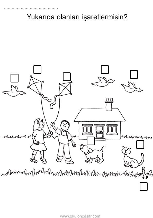 Aşağıda Yukarıda çalışma Sayfası Kavramlar Preschool