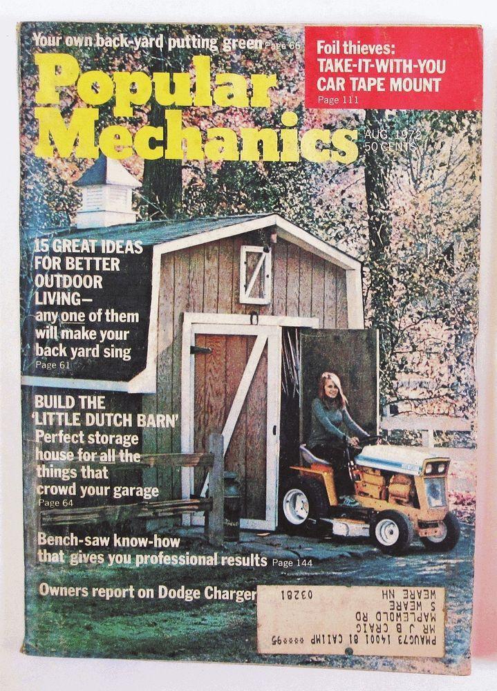 Popular Mechanics August 1972 Magazine 1970s Very Good Grade Little Dutch Barn