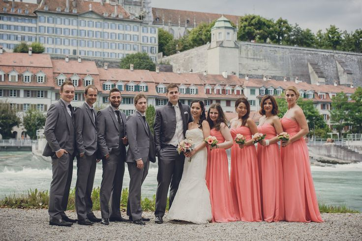 The newlyweds with their groomsmen and bridesmaids in front of the old city of Bern, Switzerland. Photo by Monica Tarocco
