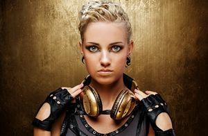 Women, Blonde, Blue Eyes, Mittens, Earrings, Headphones, Gold