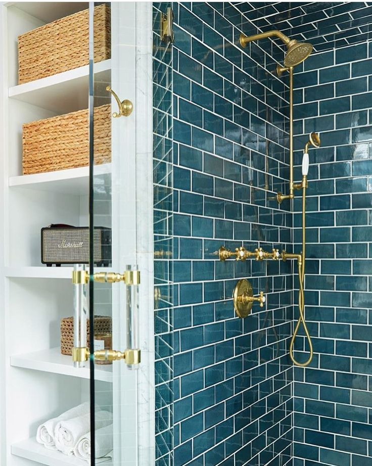 Love this color tile. Love it with the brass. – #b…