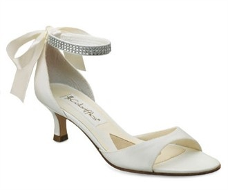 Carmen Ivory Matte Satin Wedding Shoes 1 1/2 Inch Heel With Rhinestones And  Ribbon