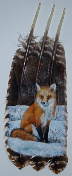 Handbeschilderde kalkoensveren vossenprint