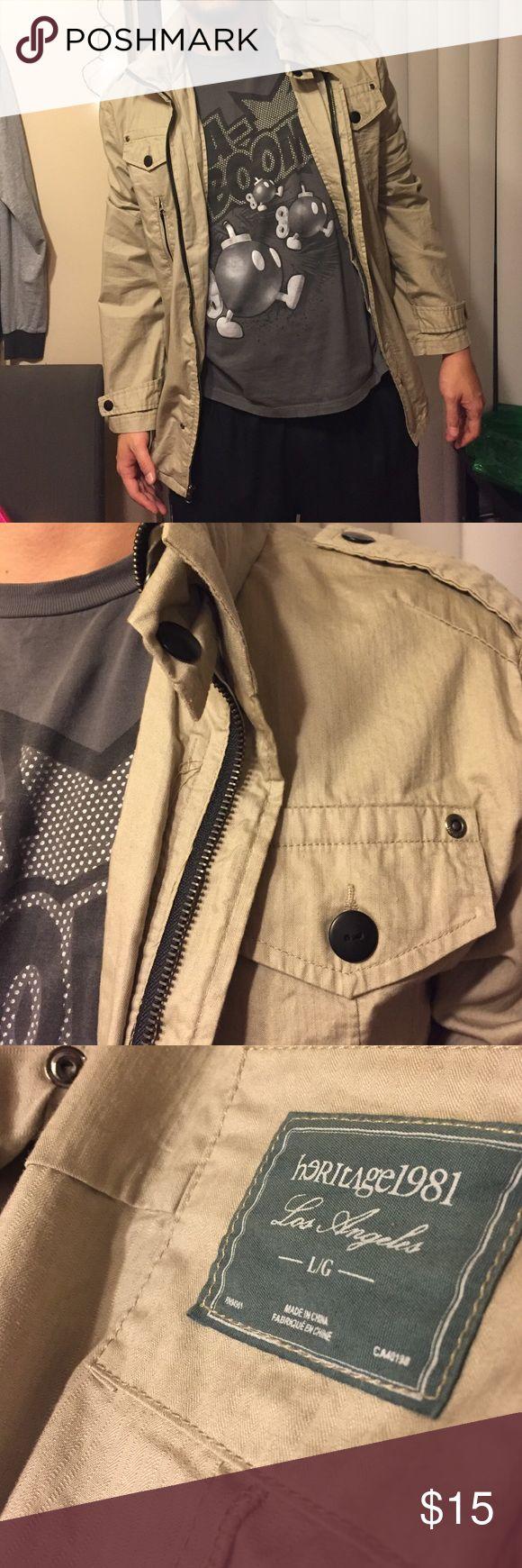 Heritage Zip Jacket with Pocket Hood Heritage 1981 light weight zip up jacket from Forever 21 Men. Tan with black metal elements. Pocket hoodie hidden in collar. Men's L // Women's L-XL. Heritage 1981 Jackets & Coats
