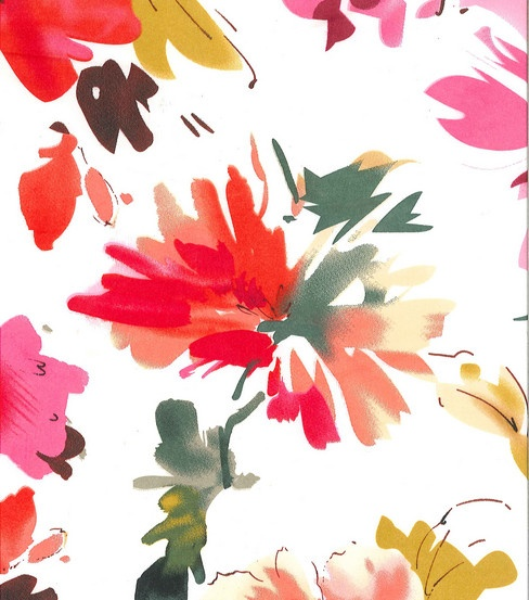 Simply Silky Print- Sara Pink Watercolor Flowers