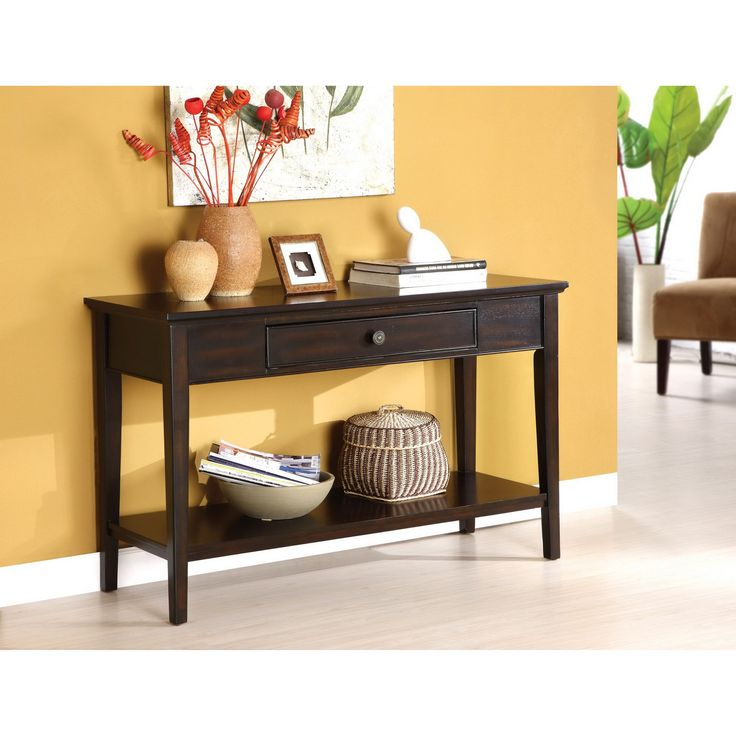 entryway tables com walnut drawers narrow with console amazon wood kings slp brand finish table furniture
