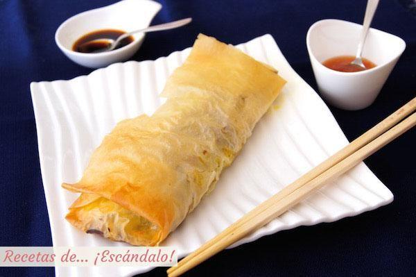 Como los de los restaurantes chinos, pero más sanos porque no se fríen. La receta es del blog RECETAS DE...¡ESCÁNDALO!