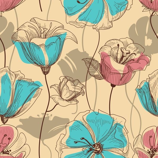 Retro floral seamless pattern by Maju Fernandez