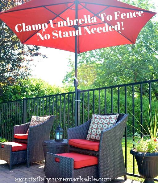 cheap umbrella trick for vertical pool fences, fences, outdoor furniture, outdoor living, pool designs