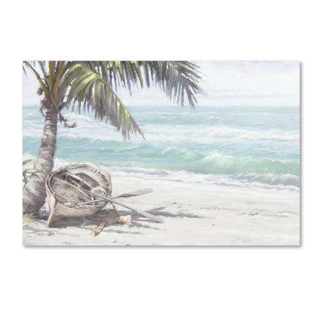 Trademark Fine Art 'Boat on Beach' Canvas Art by The Macneil Studio, White