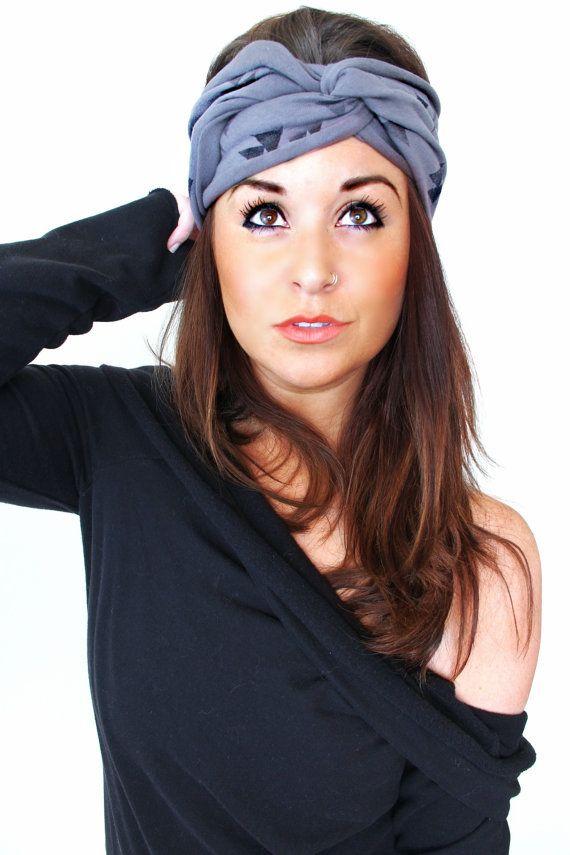 FREE SHIPPING- Extra Wide Headband, Triangle Headband, Dark Gray Headband, Turban Headband, Twist Headband, Hipster Headband, Boho headband