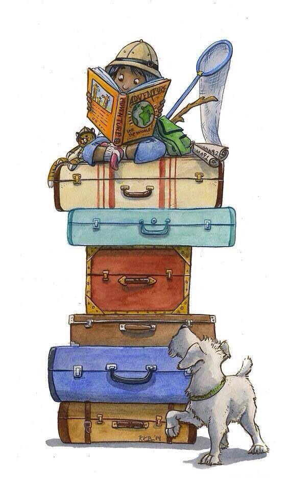 Books take you on adventures. [with a child reading while sitting on top of a stack of suitcases]