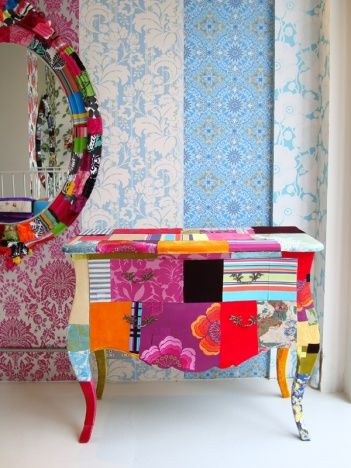 Amazing way to make retro furniture! Cover with a layer of PVA glue, cover with patches of colourful craft/scrap paper. Allow to dry. Cover with two layers of PVA to set and finish with a shine. LOVE IT!