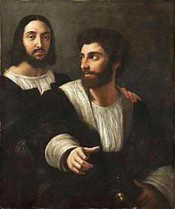 Autoritratto con un amico AutoreRaffaello Sanzio Data1518-1520 Tecnicaolio su tela Dimensioni99 cm × 83 cm  UbicazioneMuseo del Louvre, Parigi