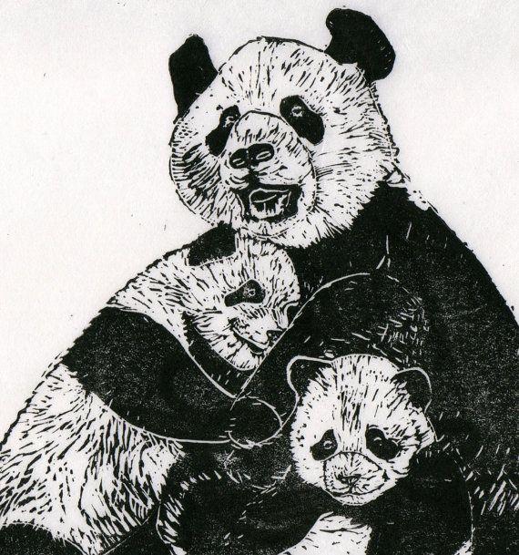 Panda Family Linocut by minouette on Etsy, $30.00