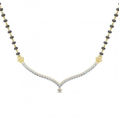 Spark Diamond Mangalsutra with 18KT Yellow Gold. This Traditional Diamond Mangalsutra Gold Weight 3.20 Gm and Diamond Weight 0.44 Ct. http://goo.gl/ZoWXmd