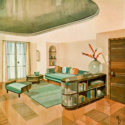 Oldstnewrules artdeco art illustration painting watercolour architecture interior
