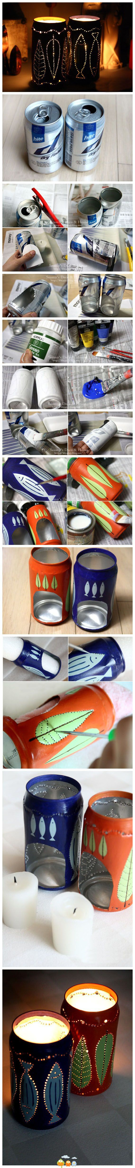 Recycle aluminum cans into awesome candle-holders!  LOVE!
