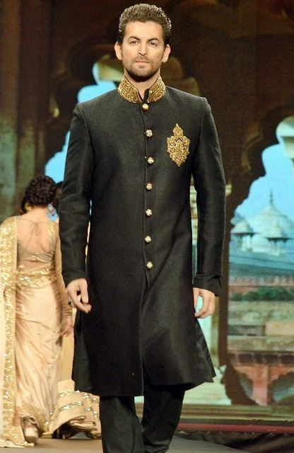 Basic and Simple long Sherwani with golden collar- Indian Outfit.. #Indian #Fashion #WomenTriangle www.womentiangle.com