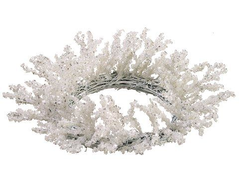 """12"""" Snow Drift Silver Glittered Iced Winter White Christmas Candle Ring Wreath. From the Snow Drift CollectionItem #XAI810-WHAdd a wintery touch to your Christmas table top decor with an icy white candle ring accented with silver glitterHolds (1) pillar candle in the middle of the ring - candle not includedMay also be used as a wreathRecommended for indoor use onlyDimensions:Wreath: 3 inches high x 12 inch diameter (measured from outermost tip to the opposite side's outermost tip)Inner ring…"""