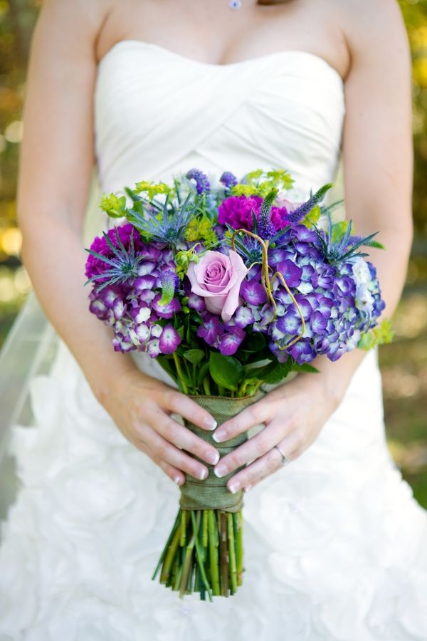 Purple, blue, green & pink ~ perfect fairy tale inspired wedding bouquet from Shannon & Jeremy's fairy tale inspired wedding at Murray Hill in Leesburg, VA