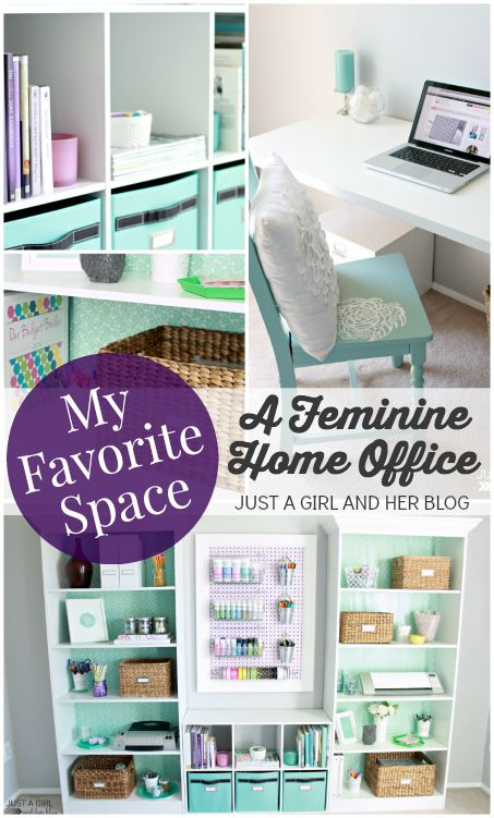 Incredible office/craft room with genius storage solutions! | JustAGirlAndHerBlog.com