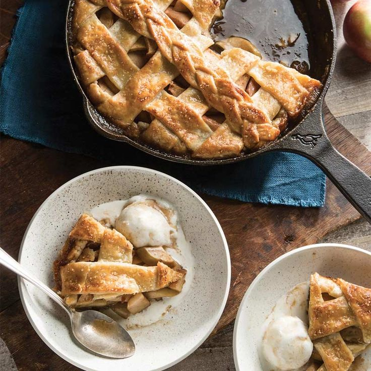 A generous helping of brown sugar caramel takes this apple pie from average to unbelievable. Find more delicious skillet recipes on southerncastiron.com.