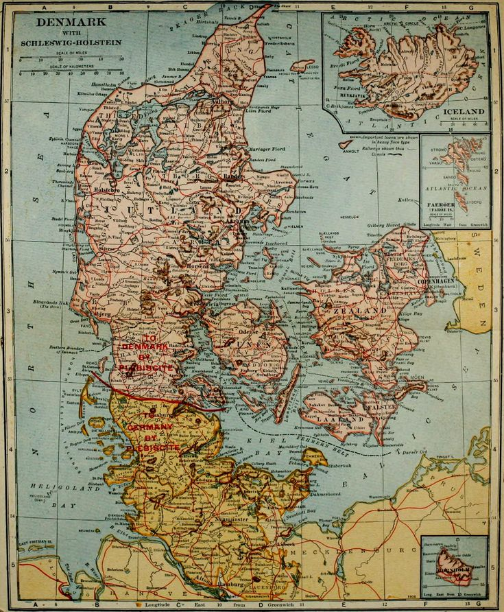 1921 Map of Denmark with insets of