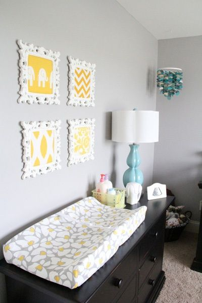 THIS is what I want for our future babies! I love having the changing pad on top of the long dresser so that you have the extra space to set your stuff: Lamp, lotions/ointments, diapers, clothes when you're changing, etc. So practical!!! #kids #kids_stuff