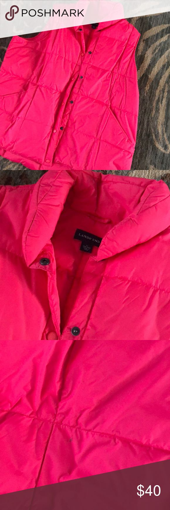 Lands end 2x hot pink vest Worn very little. Down vest. Small stain on the back. Noted in photo. May wash out. Lands' End Jackets & Coats Vests