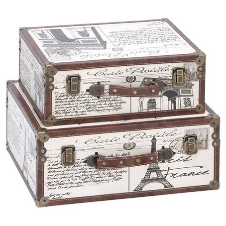 Add legs and make a spare room side table?   2 Piece Paris Decorative Suitcase Trunk Set in White & Brown