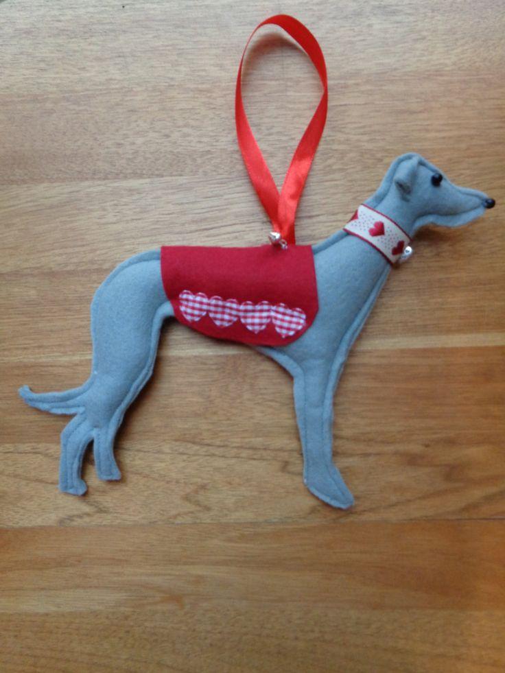 Hand made Grey felt Greyhound, Whippet, Lurcher type dog hanging decoration by CraftyBunnyDog on Etsy