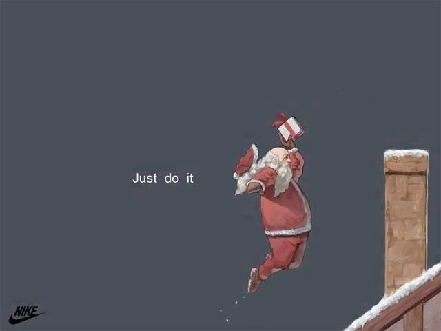 La distribution de cadeaux du Père Noël vue par Nike Santa's rocking