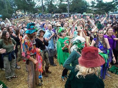 Some of the crowd at Mardigrass. Nimbin, Australia