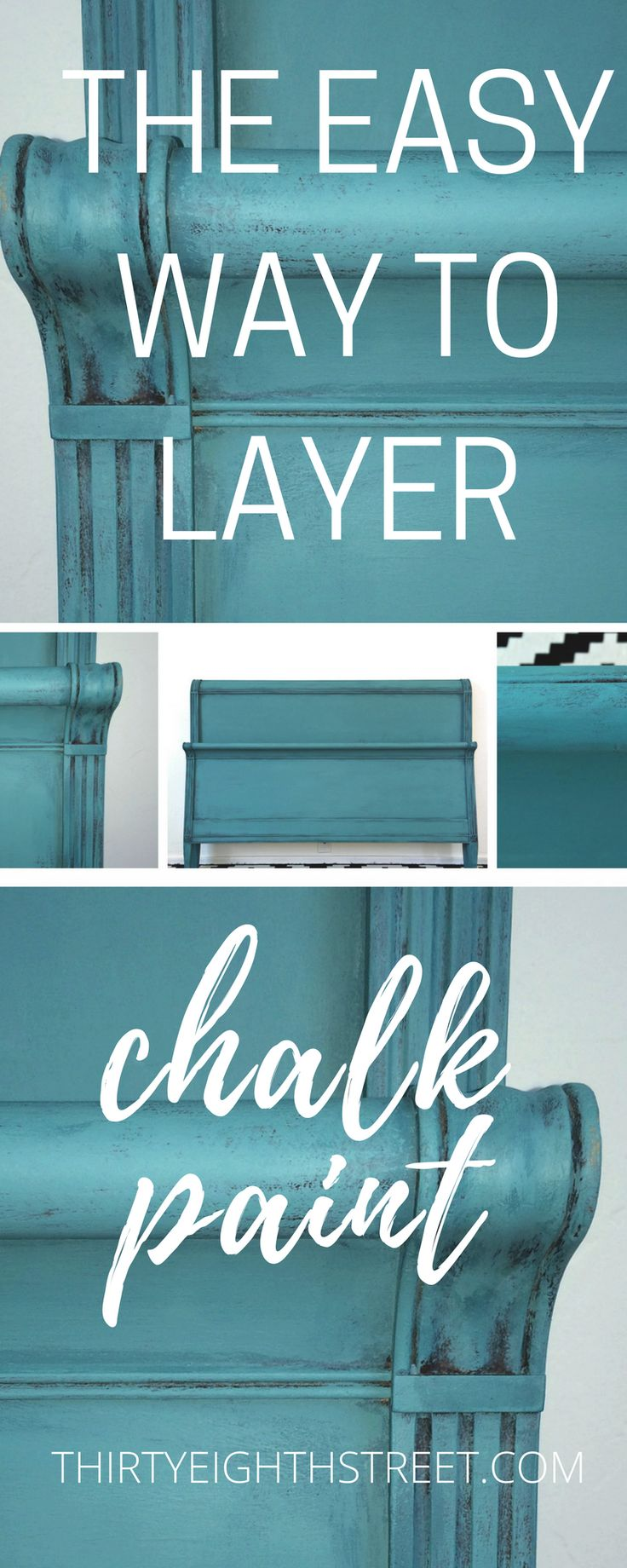 How To Layer Chalk Paint®. Tips for Layering Chalk Paint® on Your Furniture. Painting Furniture Before and After. Turquoise Furniture. Turquoise Bed. Painted Blue Furniture. Painting Techniques for Chalk Paint®. #chalkpaint #anniesloan #paintedfurniture
