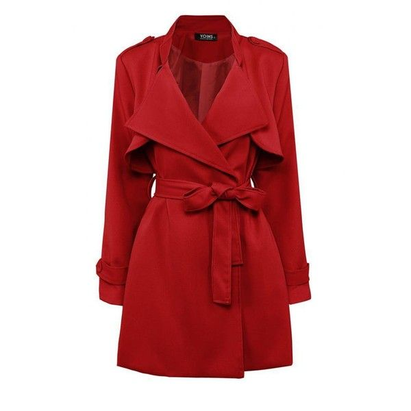 Yoins Yoins Red Belted Trench Coat ($47) ❤ liked on Polyvore featuring outerwear, coats, jackets, coats & jackets, red, belted trench coat, long sleeve coat, slim fit coat, slim coat and red trenchcoat