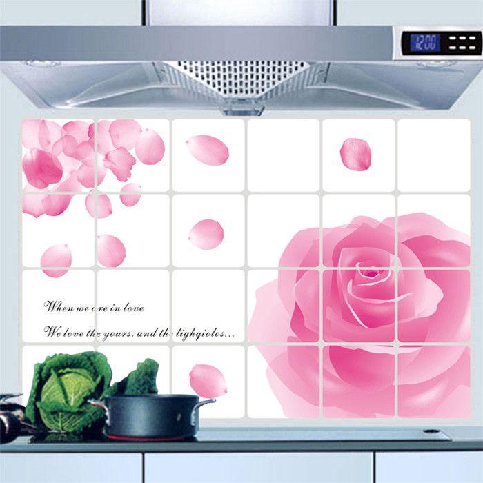 Наклейки виниловые обои домашнего декора ванной водонепроницаемый наклейки розовые розы кухня DIY наклейки на стены украшения дома обои
