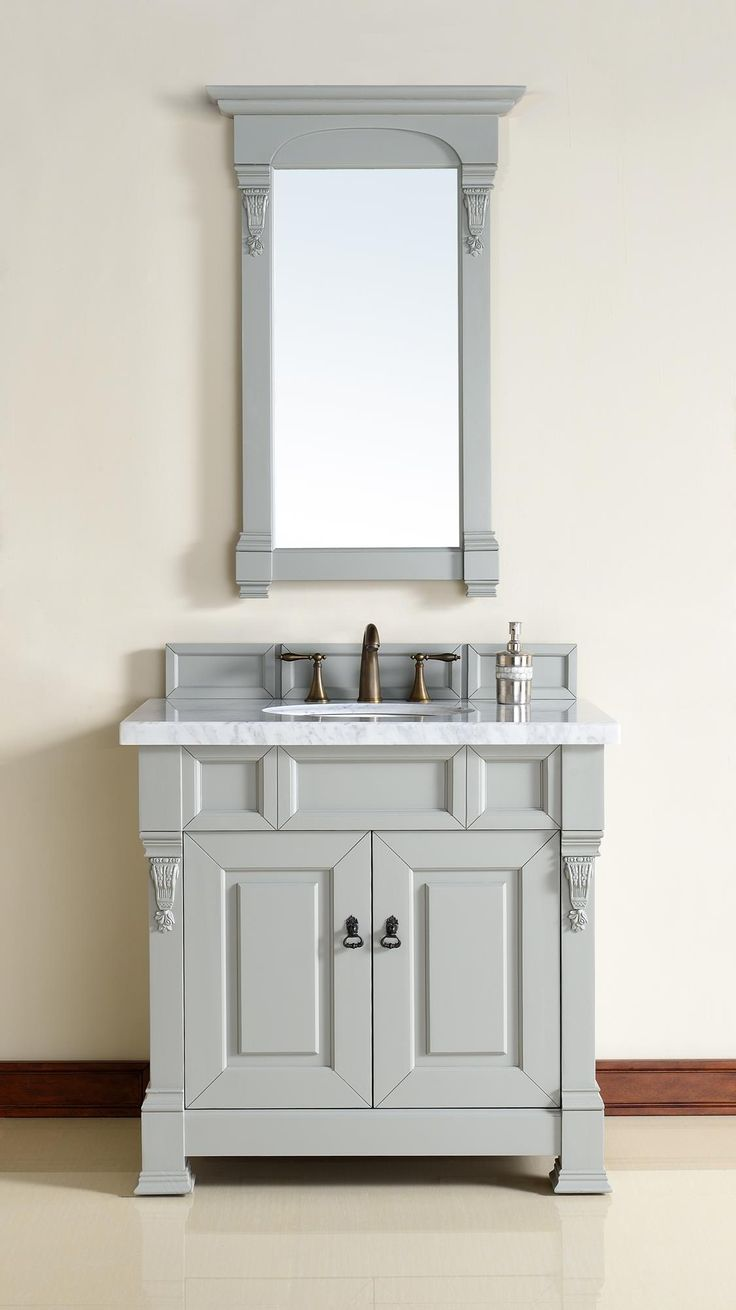 Pic Of Brookfield Single Sink Bathroom Vanity Cabinet Urban Gray Finish Carrara White Marble