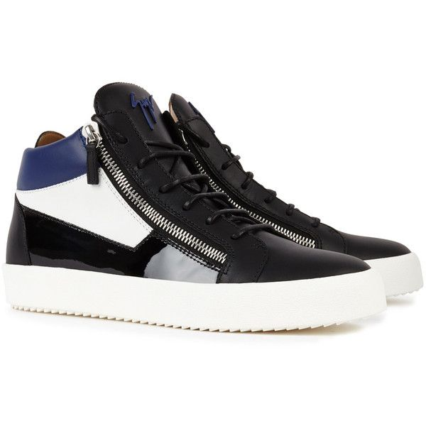 Giuseppe Zanotti May tri-tone leather trainers ($720) ❤ liked on Polyvore featuring men's fashion, men's shoes, men's sneakers, mens black leather high top sneakers, mens high top shoes, mens leather sneakers, mens high top sneakers and mens leather shoes