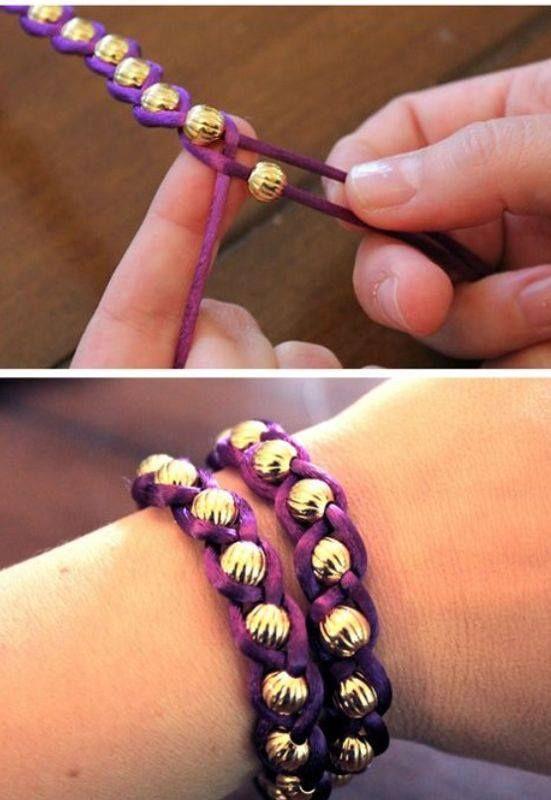 Como hacer pulseras trenzadas con balines