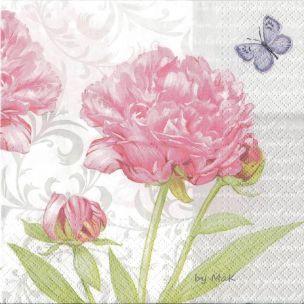 Garden Peony servítky pivónie, motýl, ruže, ružová