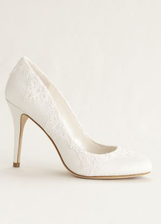 "Walk down the aisle in these elegant and chic lace pumps!   Satin round toe pump features lace overlay detailing.  Heel height- 3 1/2"".  Imported."