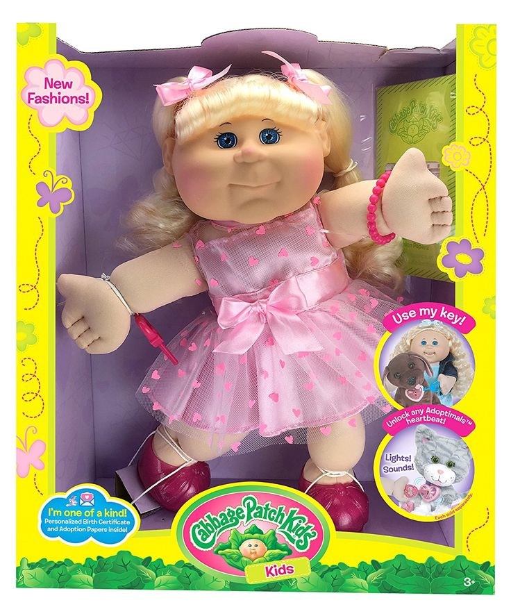 "Cabbage Patch Kids Blonde Kid Pink Heart Dress Fashion Baby Doll, 14"""