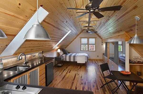 Attic Studio Apartment.  Love The Retro Combining The Rustic Modern Design.