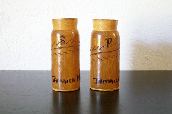 Jamaica West Indies Mid Century Vintage Carved Wood Souvenir Salt And Pepper Shakers, $10.00