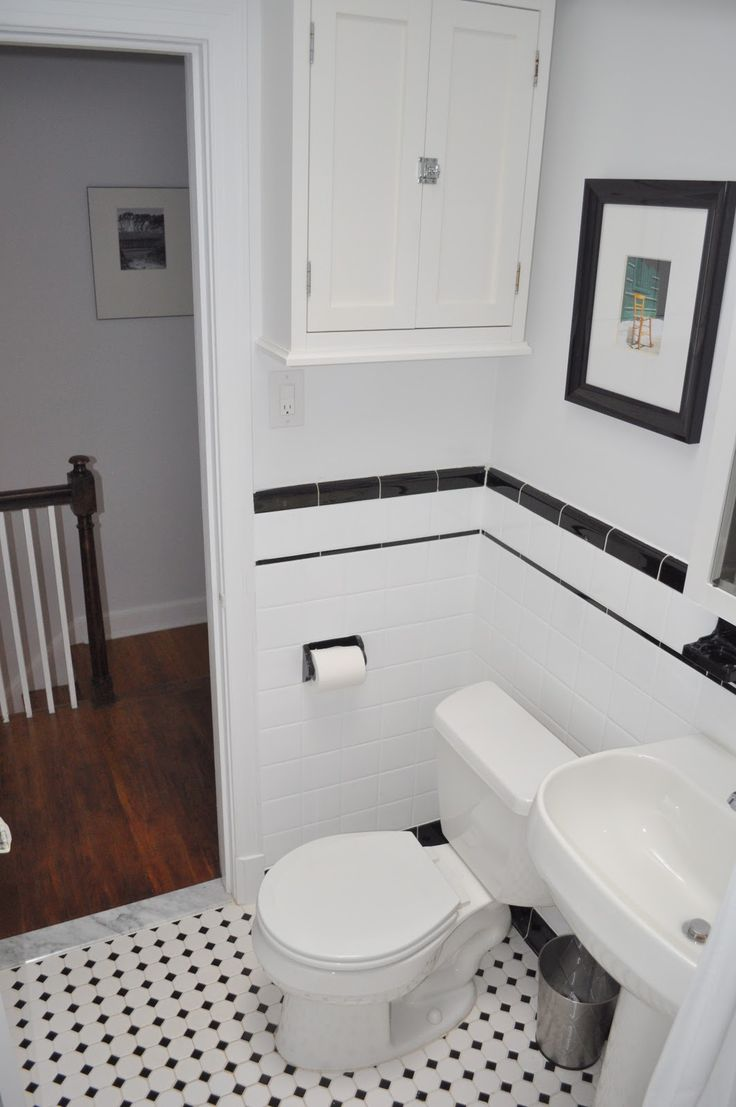 Bathroom ideas black and white - Black White Tile Bathroom Google Search