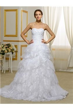 Winter Hall Classic & Timeless Church Tiered Sweetheart All Sizes Natural Wedding Dress