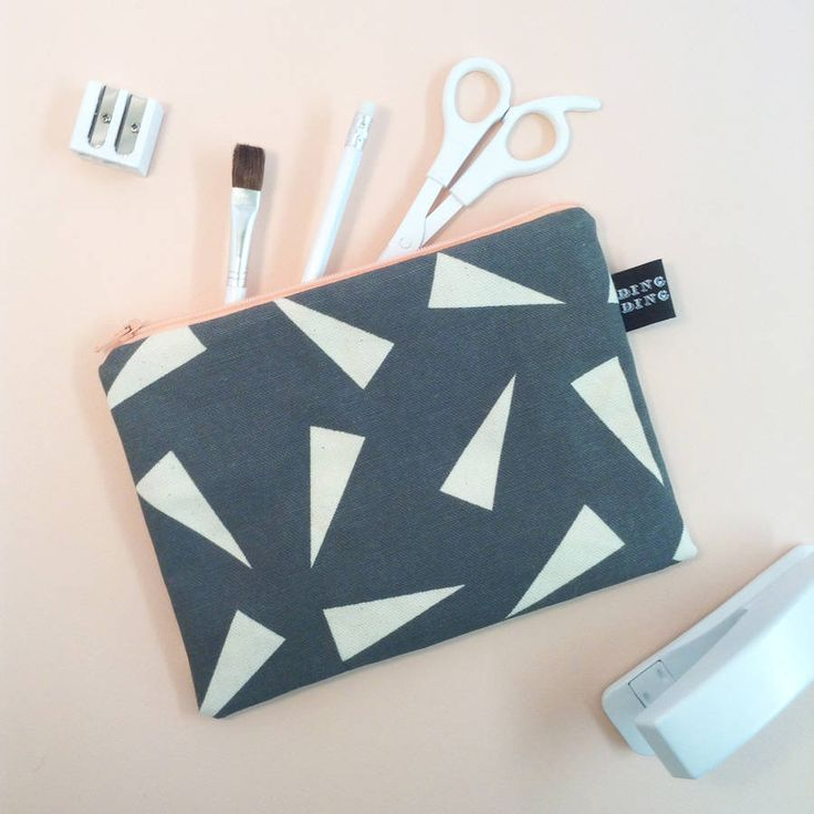 Triangle print, canvas pencil case. Hand screen printed pencil case, featuring a simple geometric pattern.