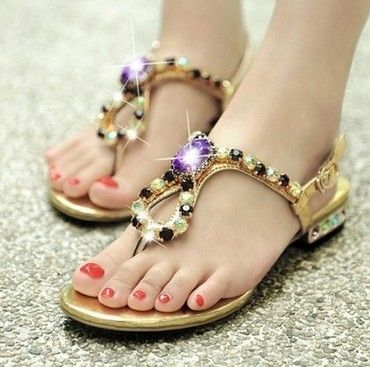 High Purple Shining Flat Sandals - stylishplus.com
